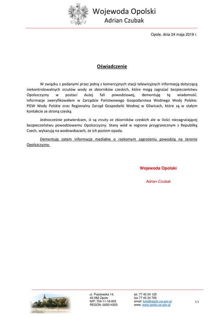 Oswiadczenie Wojewody Opolskiego - w związku z nieprawdziwymi info. -1.jpeg